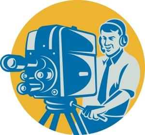 Film  Crew TV Cameraman With Movie Camera Retro